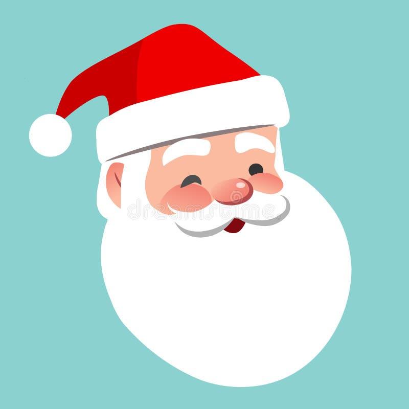 Vector cartoon Santa Claus character portrait illustration. Friendly smiling winking Santa isolated on aqua blue. Christmas stock illustration