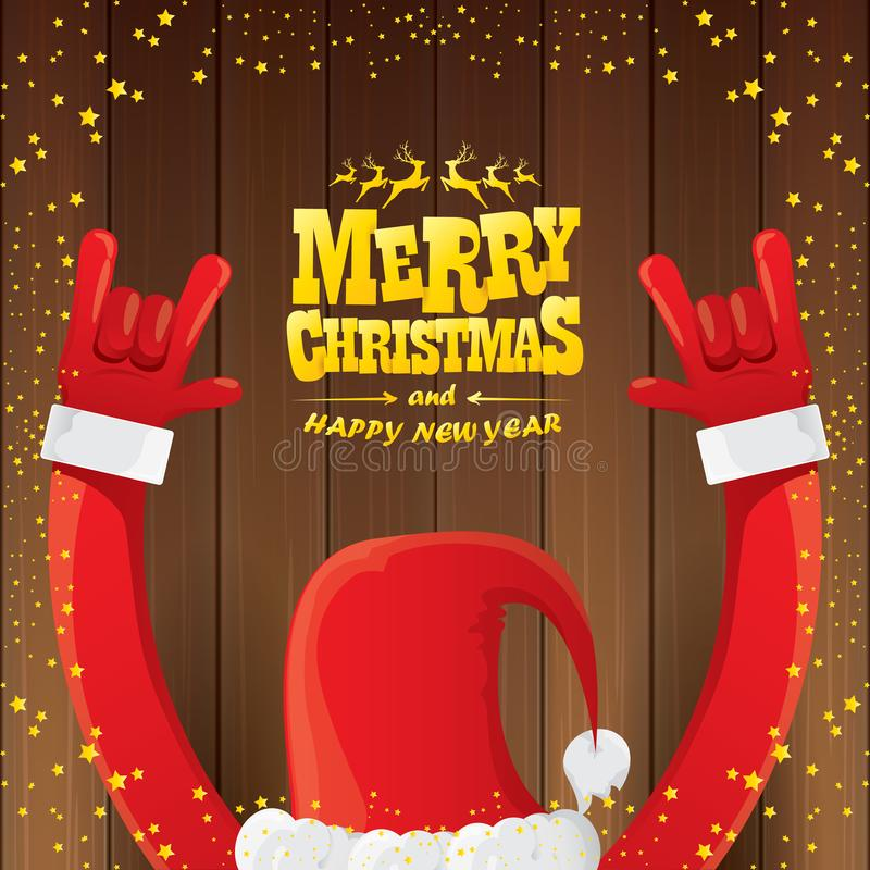 Vector cartoon Santa Claus rock n roll style with golden calligraphic greeting text on wooden background with christmas vector illustration