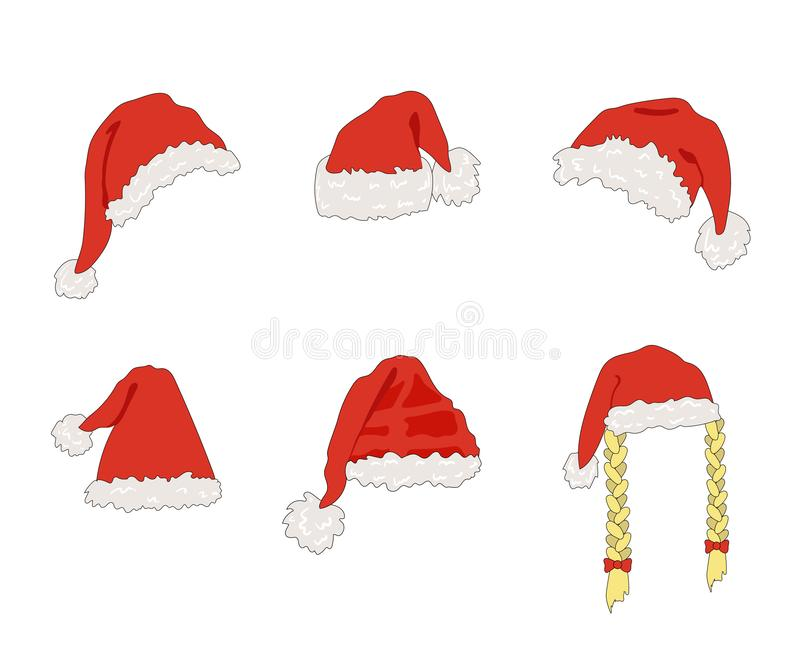 Vector Cartoon Santa Hats, Christmas Design Element, Set Isolated. stock illustration
