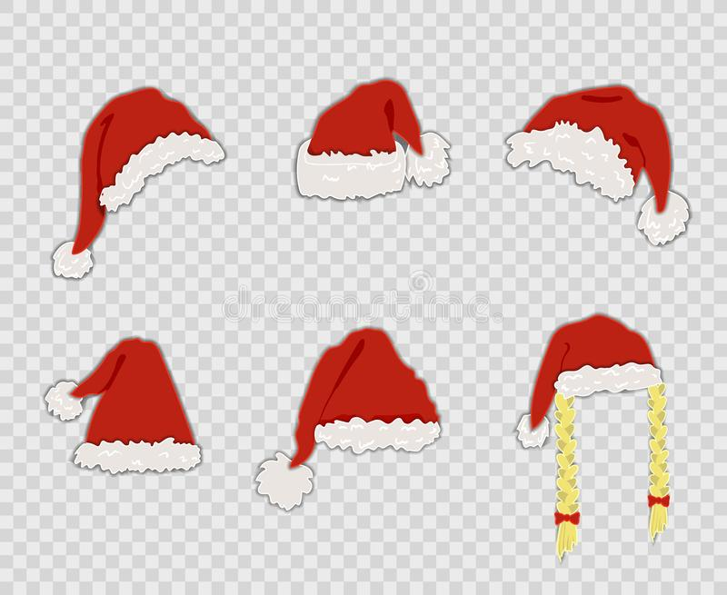 Vector Cartoon Santa Hats Set, Isolated on Transparent Background Decorative Christmas Elements. stock illustration