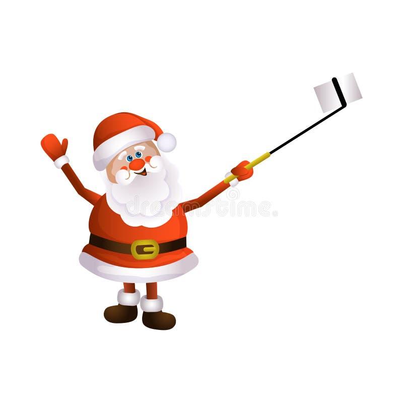 Vector cartoon Santa making selfie by stick royalty free stock photo