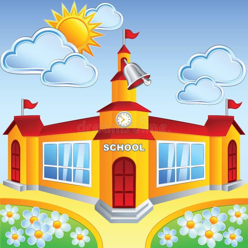 Vector cartoon school building vector illustration