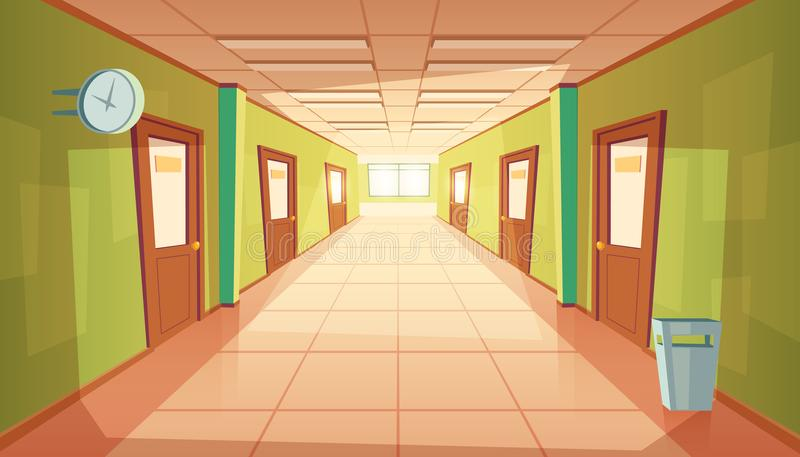 Vector cartoon school or college hallway, university corridor vector illustration