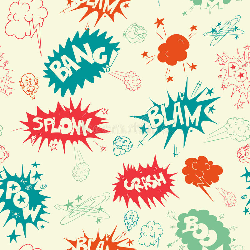 Vector cartoon seamless pattern of doodle colored comic sound Effects stock illustration