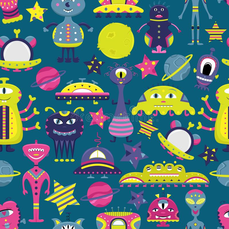 The vector cartoon seamless pattern with flat aliens, spaceships, planets, satellites and cosmonaut. Funny characters stock illustration