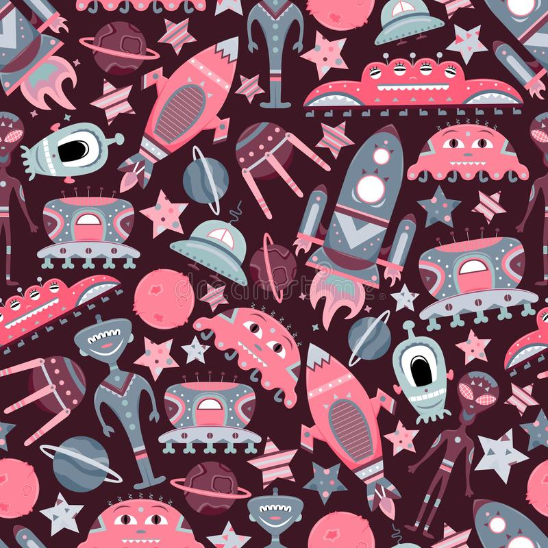 The vector cartoon seamless pattern with flat aliens, spaceships, planets, satellites and cosmonaut. Funny characters vector illustration