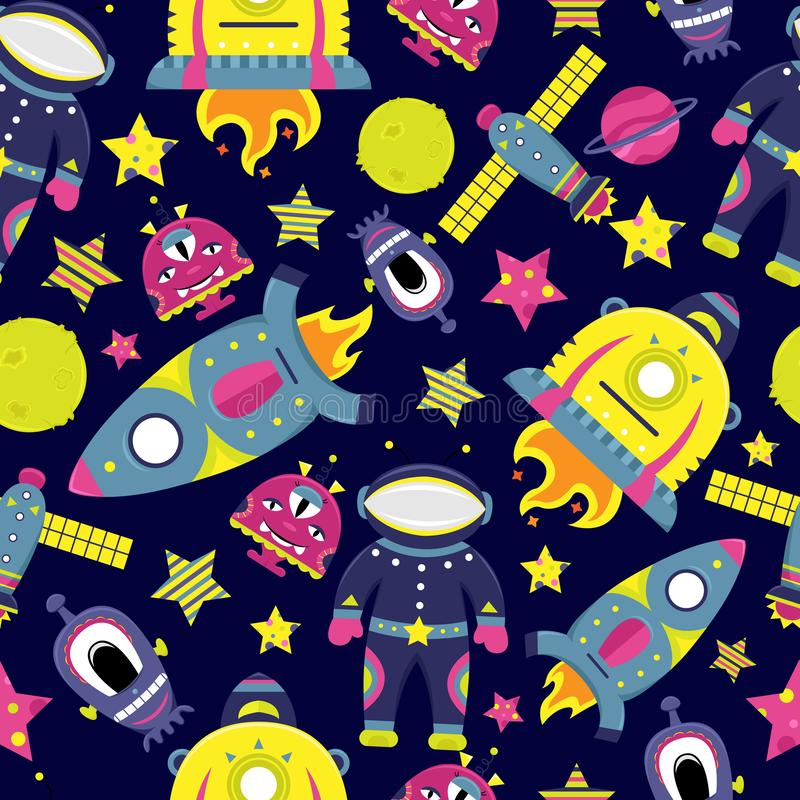 The vector cartoon seamless pattern with flat aliens, spaceships. Planets, satellites and cosmonaut. Funny characters stock illustration