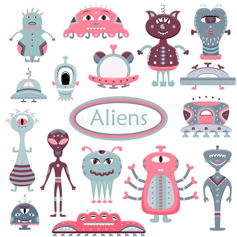 The vector cartoon set with flat aliens. Funny characters.  royalty free illustration