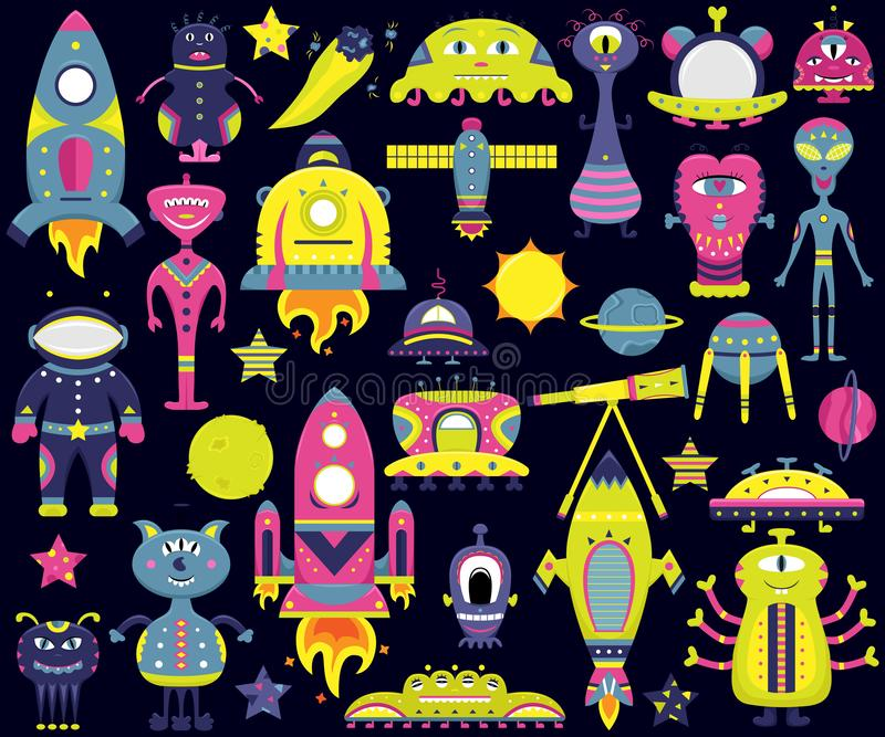 The vector cartoon set with flat aliens, spaceships, planets. Satellites and cosmonaut. Funny characters stock illustration
