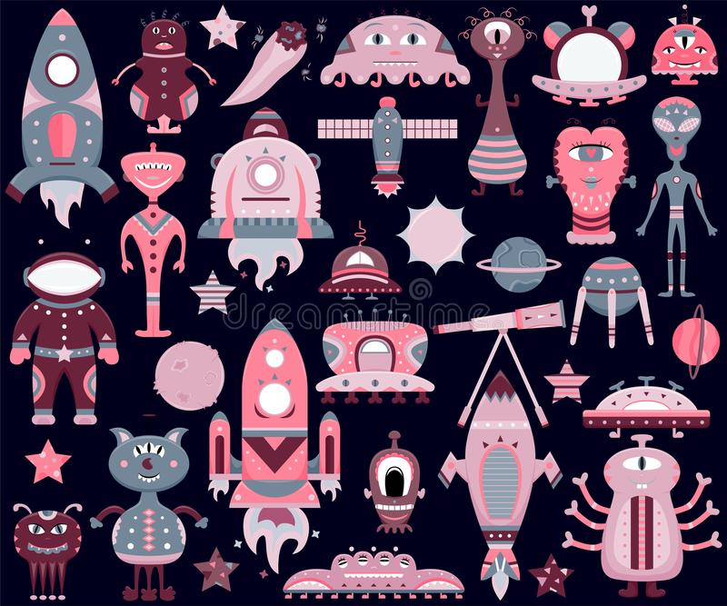 The vector cartoon set with flat aliens, spaceships, planets. Satellites and cosmonaut. Funny characters vector illustration