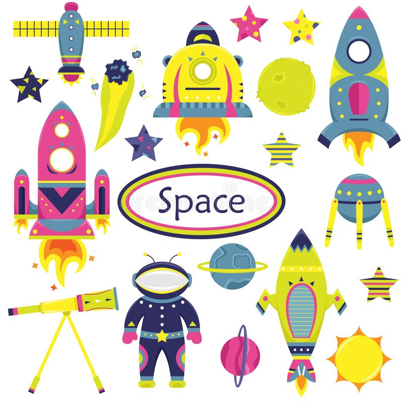 The vector cartoon set with flat spaceships, planets, satellites. And cosmonaut. Funny characters vector illustration