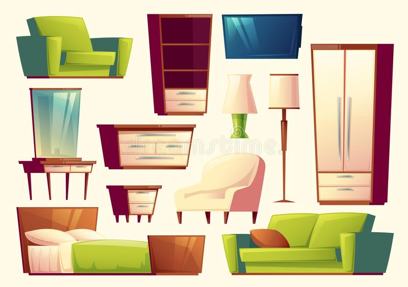 Vector cartoon set of furniture - sofa, bed, closet, armchair, torchere, tv set for bedroom, lounge. Interior concept. stock illustration