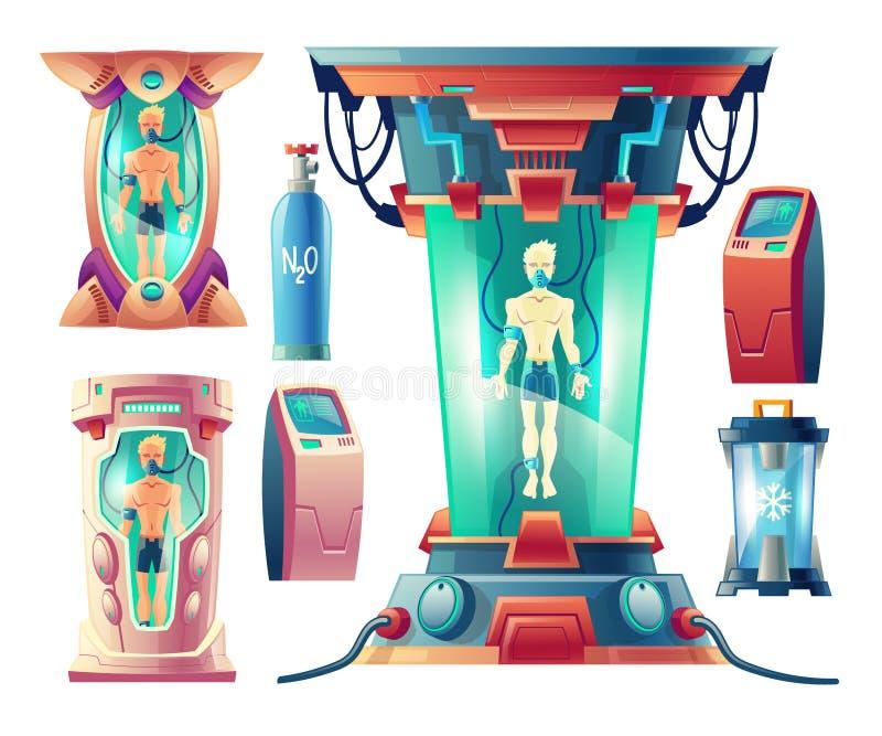 Vector set of futuristic equipment for hibernation. Vector cartoon set with futuristic equipment for hibernation, cryogenic cameras with sleeping humans inside stock illustration
