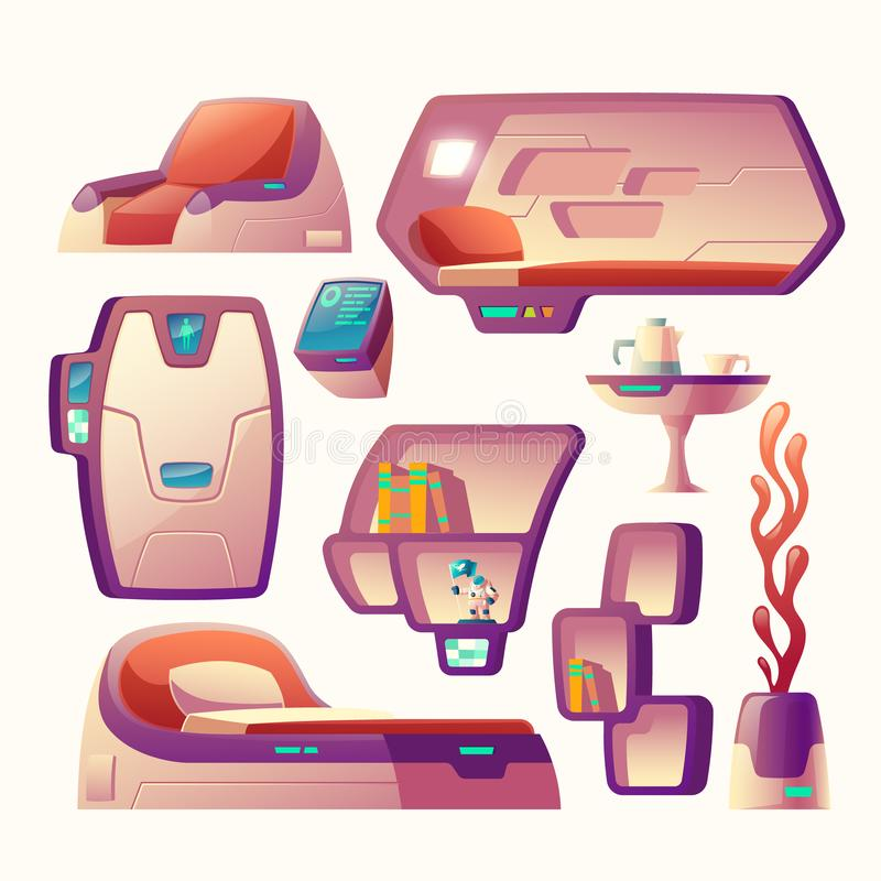 Vector futuristic objects for spaceship cockpit royalty free illustration