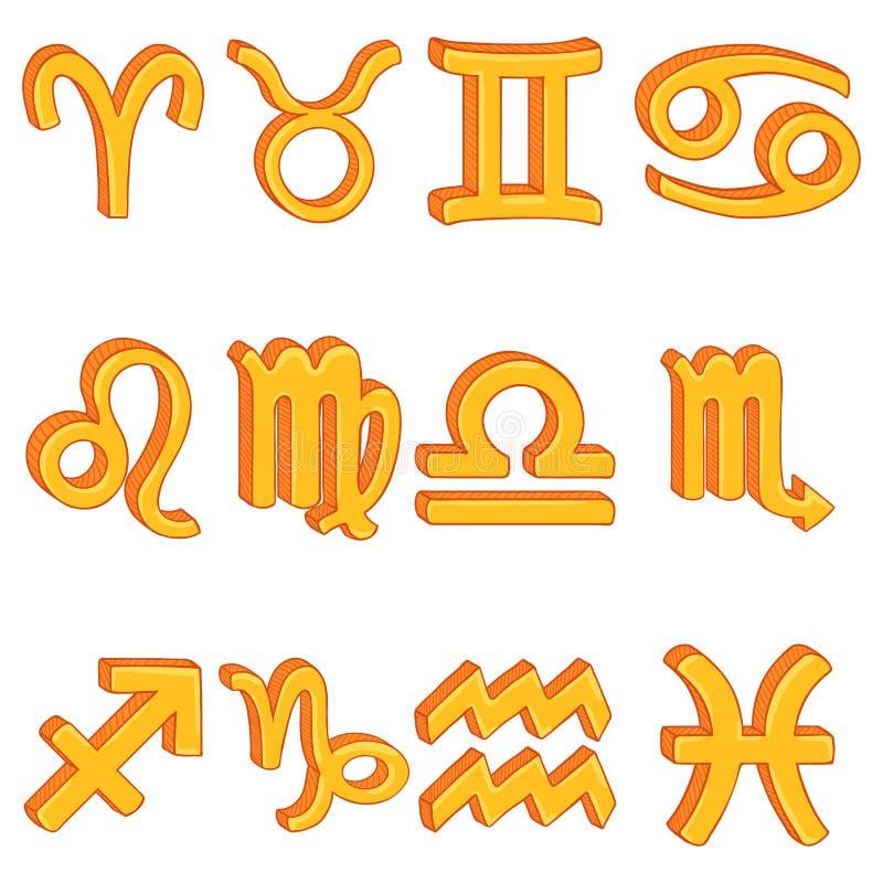Vector Cartoon Set of 12 Golden Zodiac Signs. Astronomical Symbols vector illustration