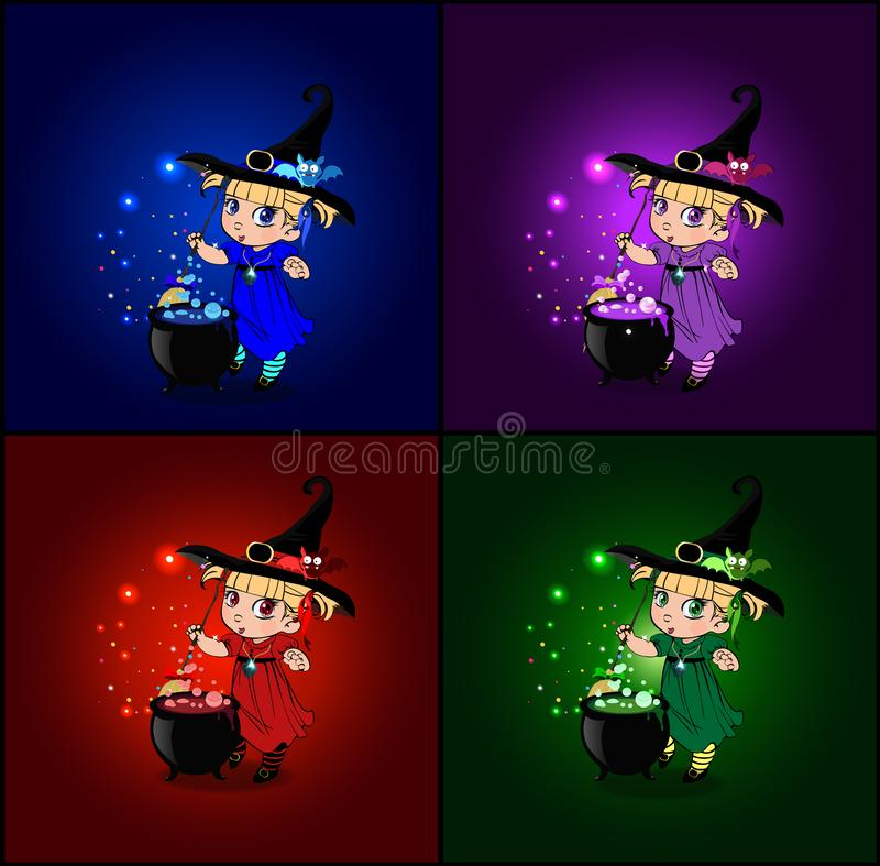 Vector cartoon set of halloween cards with little baby witches in costume and hat vector illustration