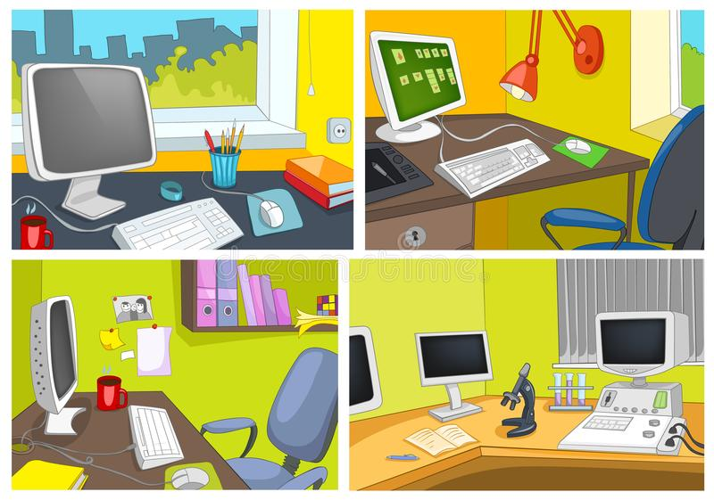 Vector cartoon set of office workplace backgrounds stock illustration