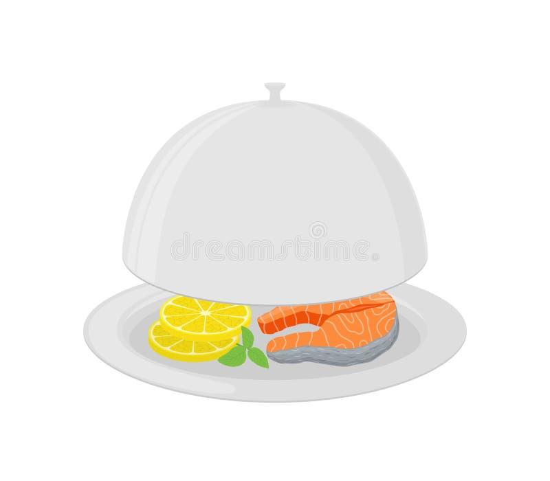 Vector cartoon silver cloche with salmon, lemon vector illustration