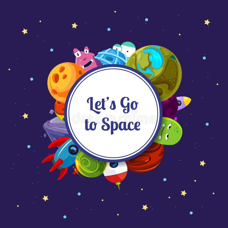 Vector cartoon space planets and ships under circle with place for text illustration vector illustration