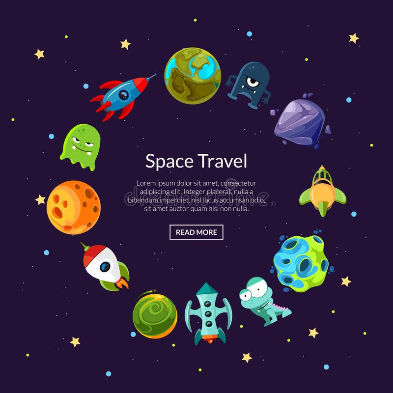 Vector cartoon space planets and ships vector illustration