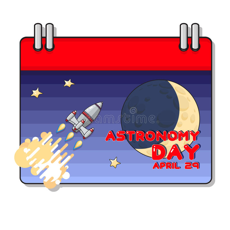 Vector Cartoon Space rocket and moon. Astronomy greeting card. royalty free illustration