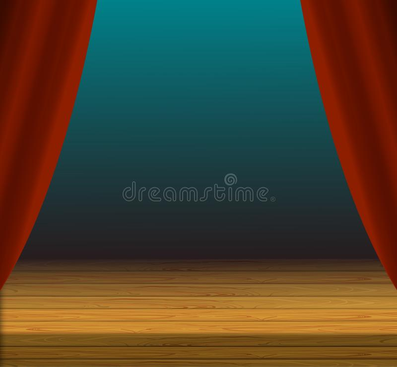 Vector Cartoon Stage Background, Red Curtains and Wooden Floor. vector illustration