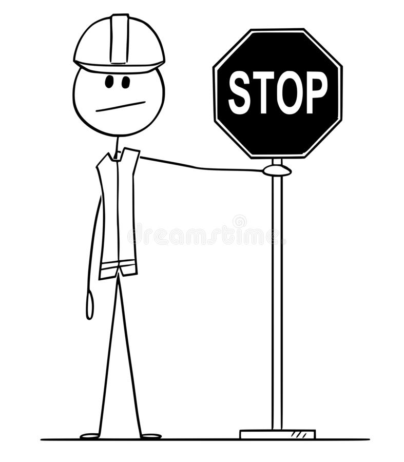 Vector Cartoon of Construction Worker Holding Stop Road Sign. Vector cartoon stick figure drawing conceptual illustration of construction worker with hard hat stock illustration