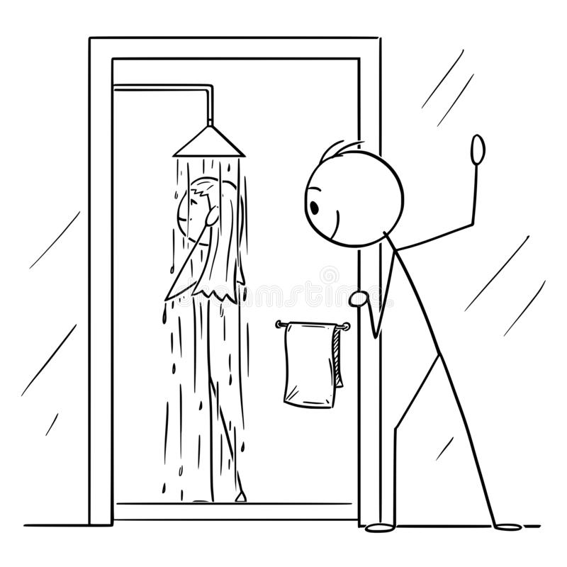 Vector Cartoon of Curious Man or Voyeur Watching Naked Woman Taking Shower in Bathroom stock illustration