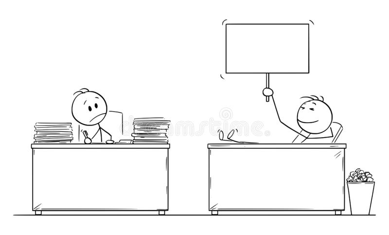 Vector Cartoon Illustration of Hard Working Office Worker or Businessman Looking at Lazy Colleague with Legs on the Desk vector illustration