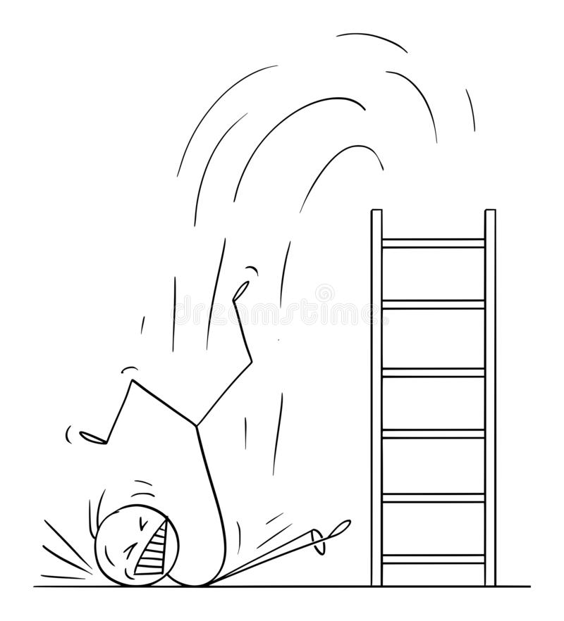 Vector Cartoon Illustration of Man or Businessman Falling Hard from Ladder. Concept of Business Failure. Vector cartoon stick figure drawing conceptual stock illustration