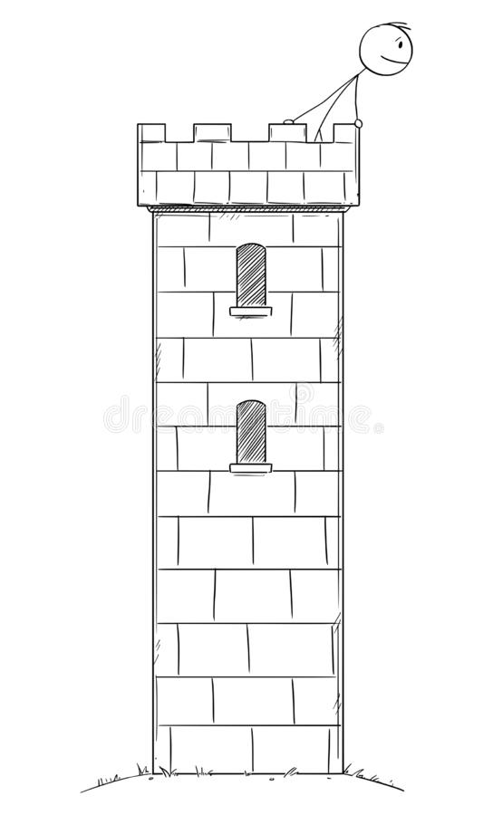 Vector Cartoon Illustration of Man or Businessman Hidden Safe Inside of the Castle or Tower Watching Threat, Danger and royalty free illustration
