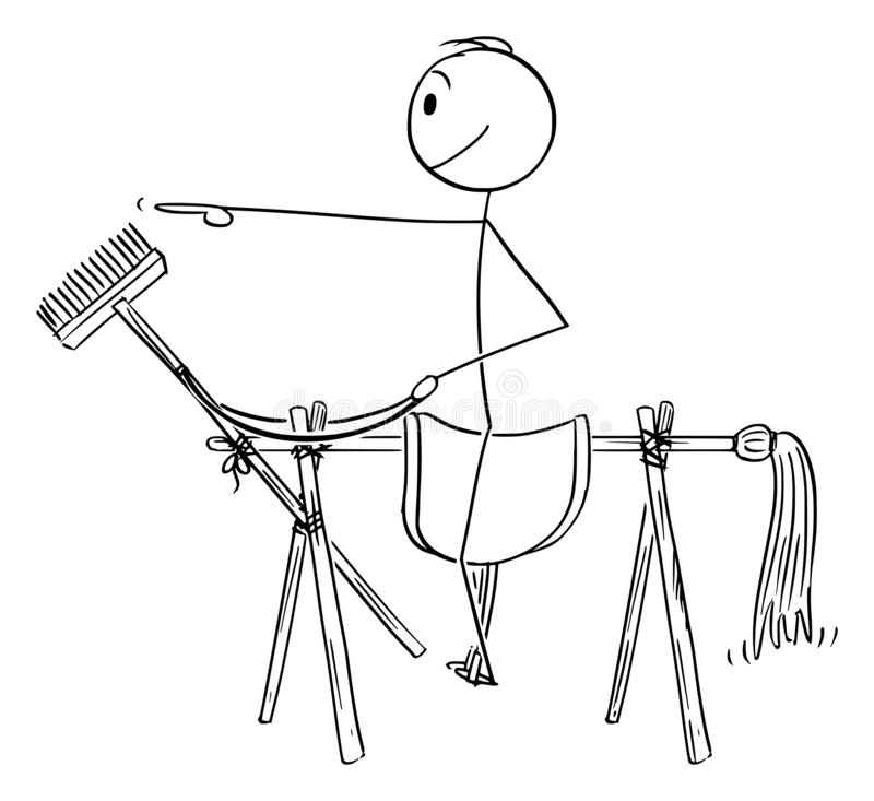 Vector Cartoon of Man or Businessman Sitting on Saddle Placed on Fake Horse Made from Brooms. Vector cartoon stick figure drawing conceptual illustration of man