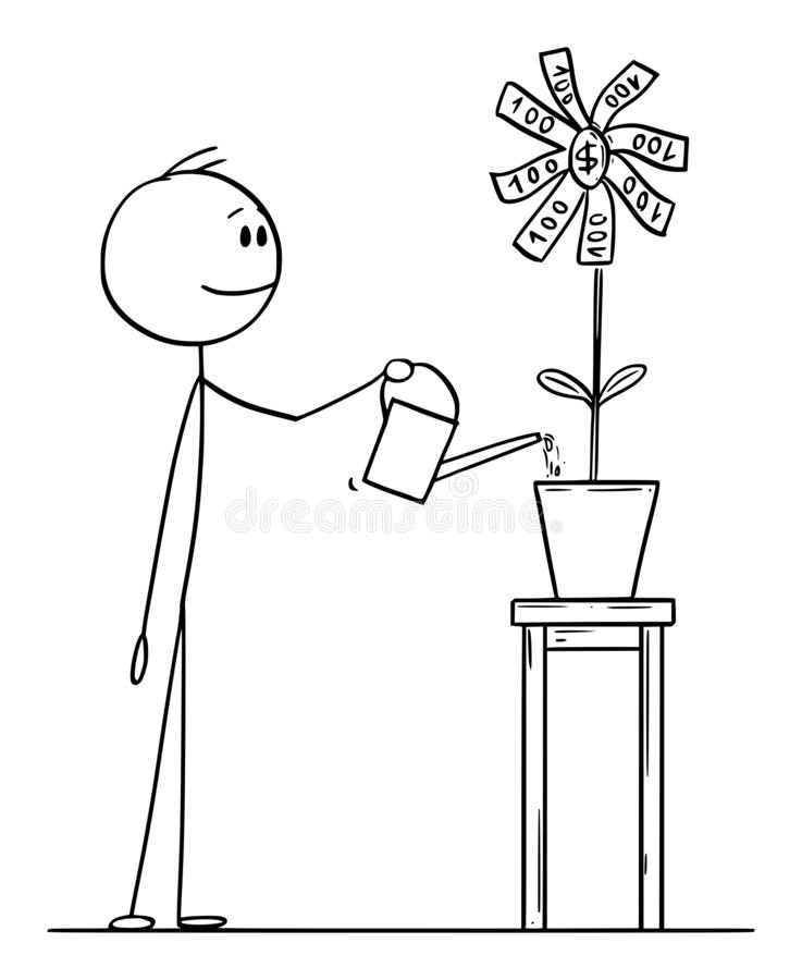 Vector Cartoon Illustration of Man or Businessman Watering Flower Blooming with Money vector illustration