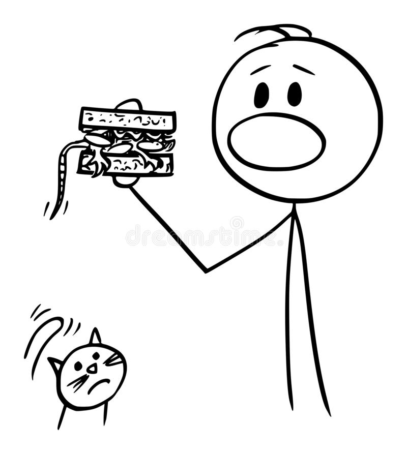 Vector Cartoon of Man Eating a Sandwich Accidentally with Mouse Inside, Unhappy Cat is Watching Him. Vector cartoon stick figure drawing conceptual illustration stock illustration