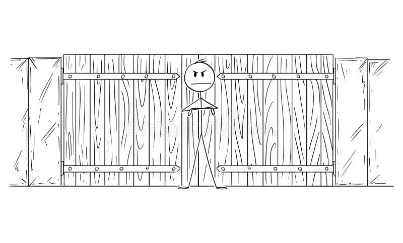 Vector Cartoon Illustration of Man or Security Guard Guarding Closed Gate or Door stock illustration