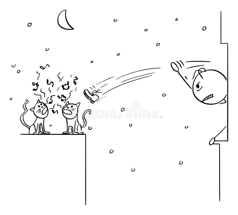 Vector Cartoon of Cats Screaming at Night and Woken Angry Man Throwing Shoe from the Window royalty free illustration