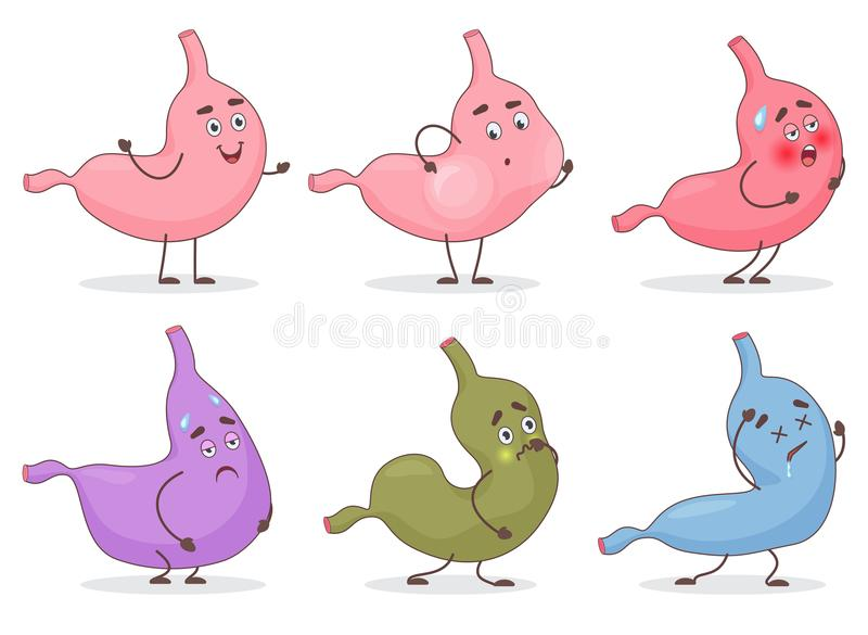 Vector Cartoon stomach emoji emoticon face avatars. Cute Belly stomack expressions and emotions set vector illustration