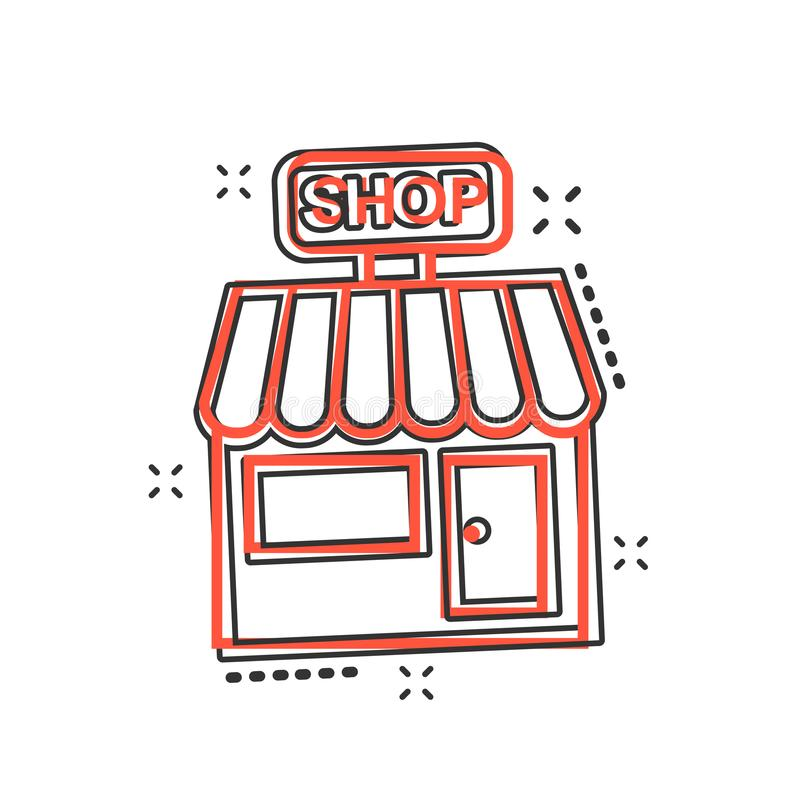 Vector cartoon store market icon in comic style. Shop building s stock illustration