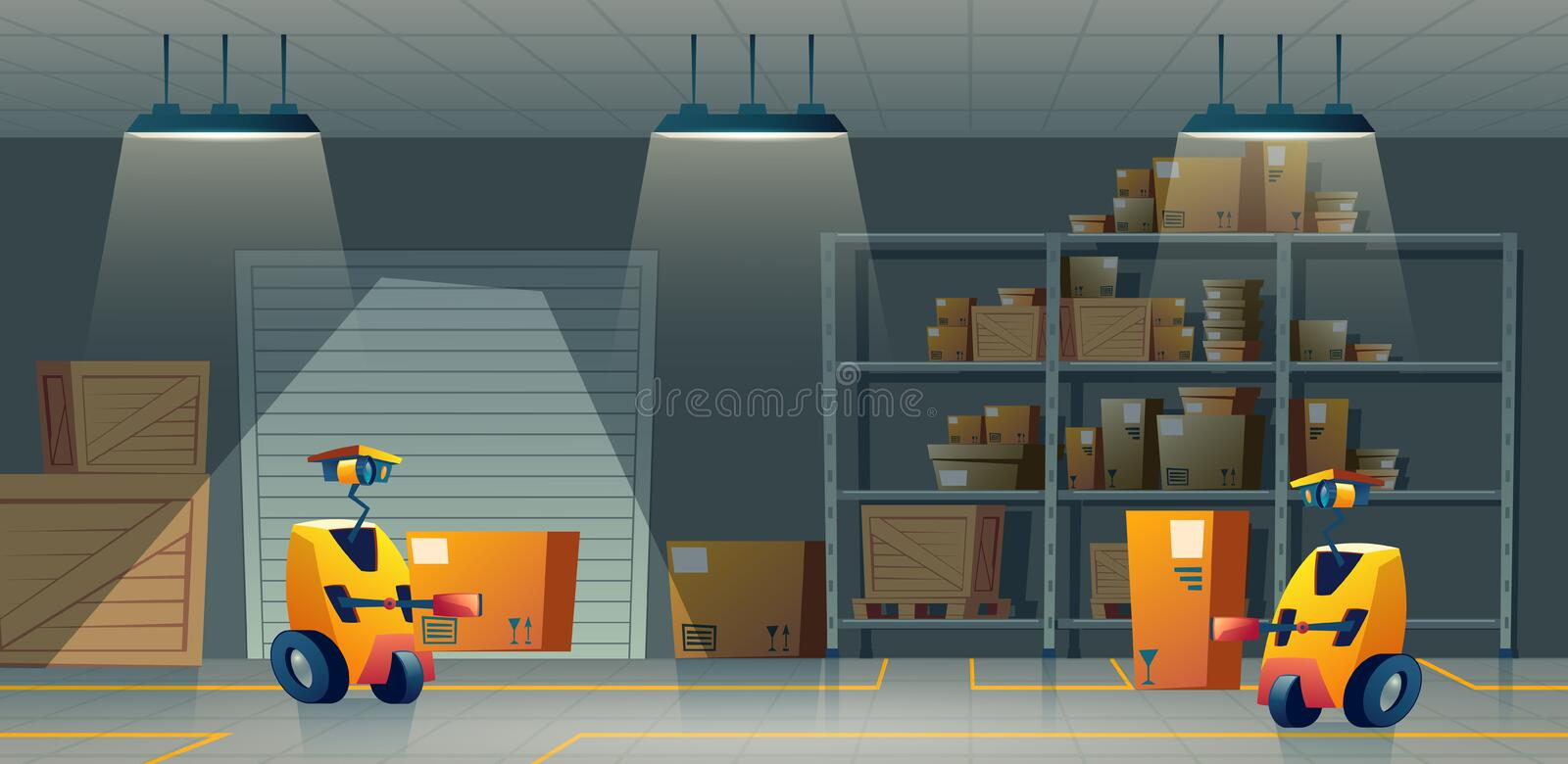 Vector cartoon storehouse, storage with robot-workers, automation vector illustration