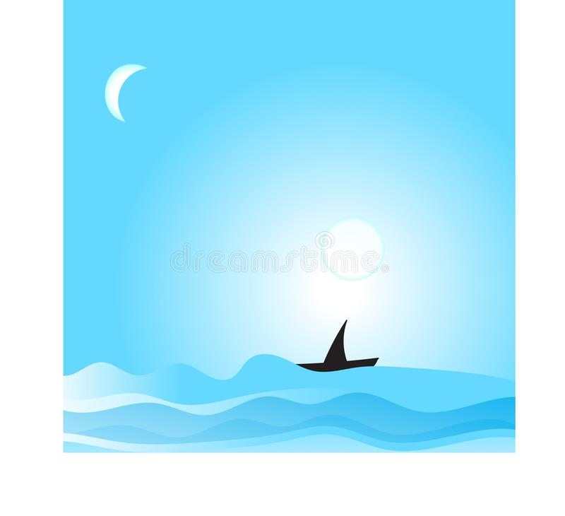 Vector cartoon style background of sea shore. Good sunny day. Ocean, summer, holiday, sand, water, sky, tropical, vacation, travel, beach, season, blue, trip vector illustration
