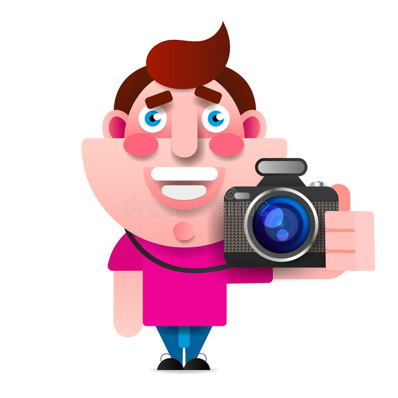 Vector Cartoon Style Character Of Photographer. Isolated royalty free illustration