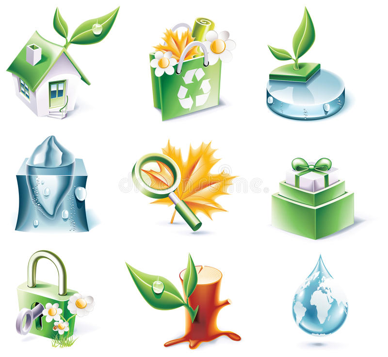 Download Vector Cartoon Style Icon Set. Part 20. Ecology Stock Vector - Image: 11275067