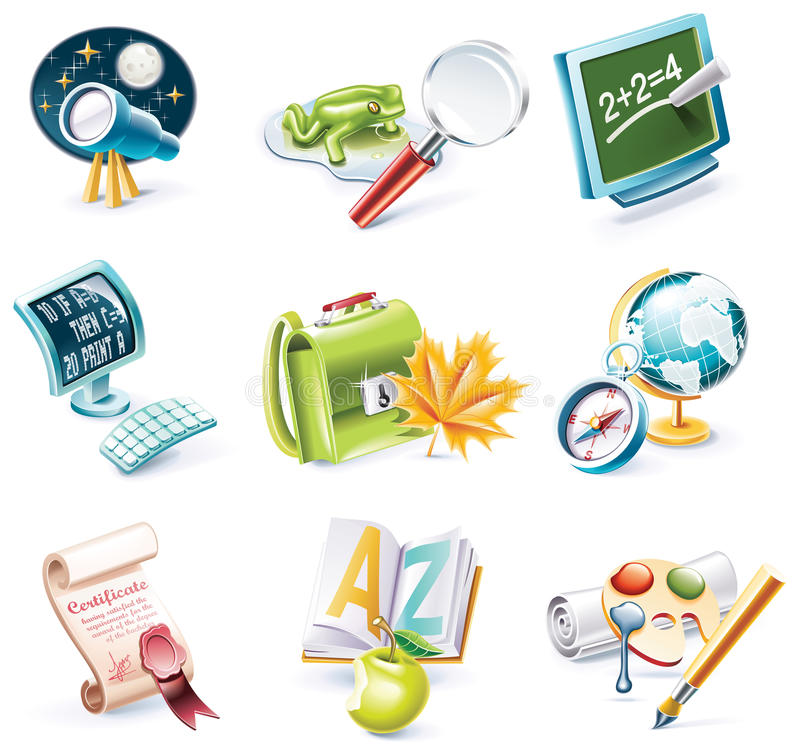 Vector cartoon style icon set. Part 23. School stock illustration