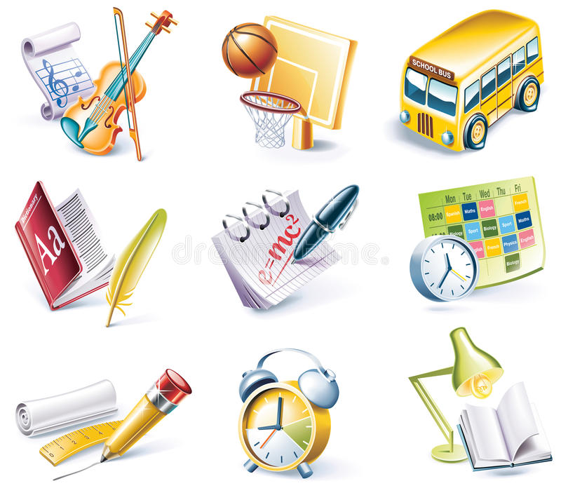Vector cartoon style icon set. Part 24. School royalty free illustration