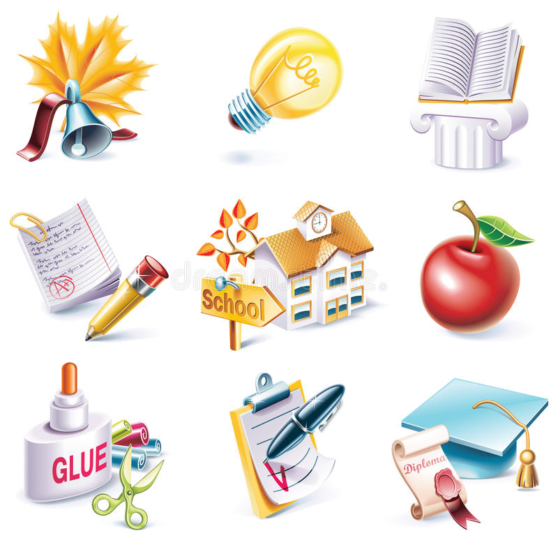 Vector cartoon style icon set. Part 25. School stock illustration