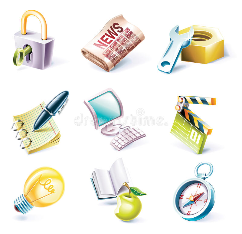 Vector cartoon style icon set. Part 3 royalty free illustration