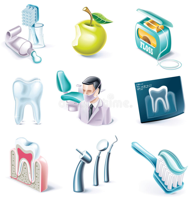 Vector cartoon style icon set. Part 31. Medicine royalty free illustration