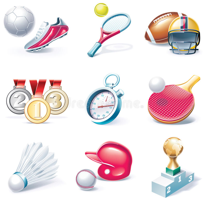 Free Vector Cartoon Style Icon Set. Part 34. Sport Royalty Free Stock Photos - 11708138