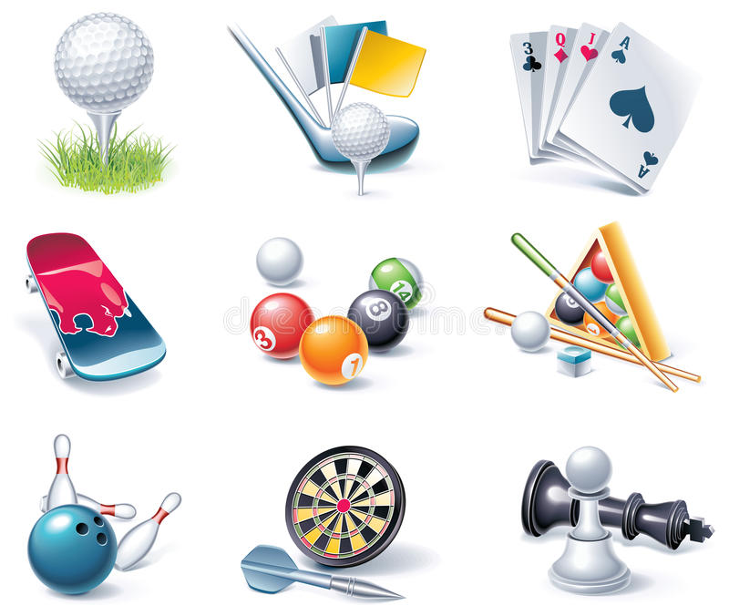 Vector cartoon style icon set. Part 35. Sport vector illustration