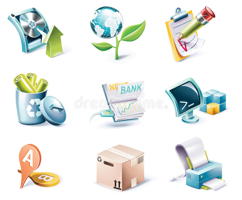 Vector cartoon style icon set. Part 6 stock illustration